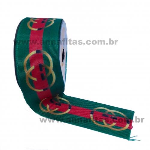 Fita Alpet de Gorgurão de 40mm com 10m Estampa Verde CHANEL  Ref- 414913