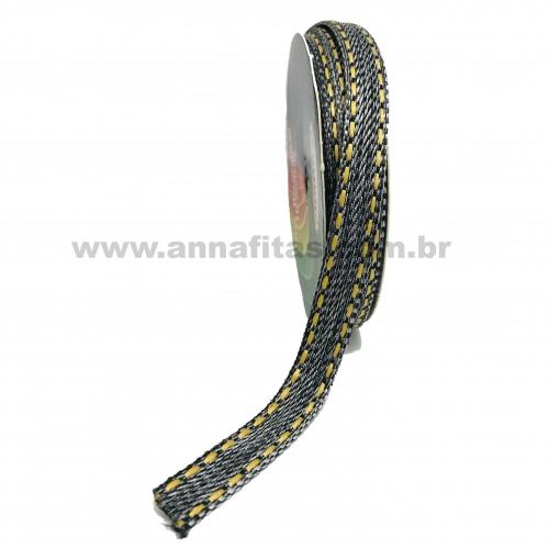 Fita Jeans Pespontada Sinimbu de 10mm Com 10 Metros  Ref:1785-10 Cor- 02 Jeans Preto