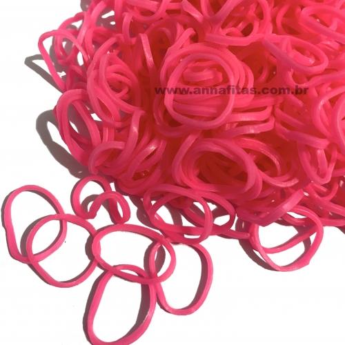 Elásticos para laço Pet cor ROSA CÍTRICO de 1,5cm com 50 gramas Pacote aproximadamente 500 unidades
