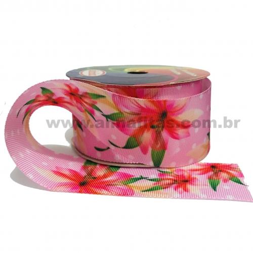 Fita Sinimbu Personalizada de 38 mm com 10 Metros Tema Flor com Fundo Rosa Cor- 210 Ref: 1665