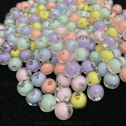 Bolas Transparente com Miolo Candy Color de 8mm com 50g Ref - BLM57T
