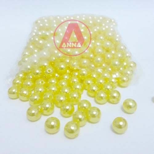 Perola ABS Furo Passante 8mm com 100 Gramas Amarelo Ref:3