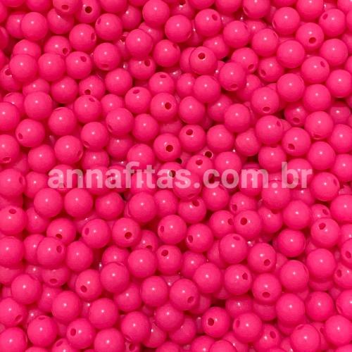 Bolas Leitosas Furo Passante de 8mm, pacote com 50 gramas, Cor- ROSA PINK NEON  Ref- LEIT236