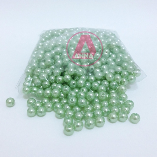 Perola ABS Furo Passante 6mm com 100 Gramas Verde BB Ref:214