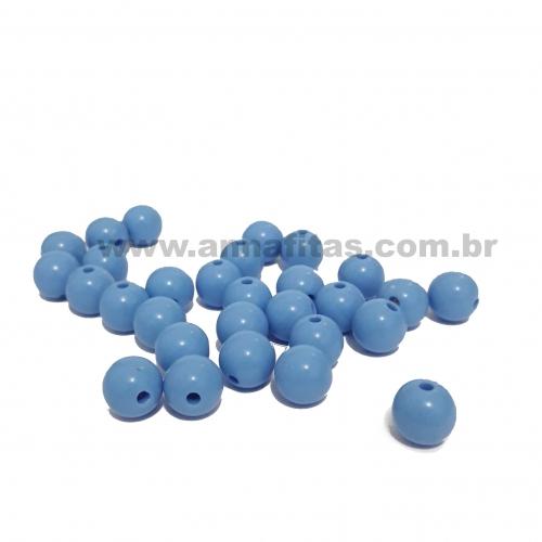 Bolas Leitosas Furo Passante de 8mm, pacote com 50 gramas, Cor: Azul Claro Ref:031