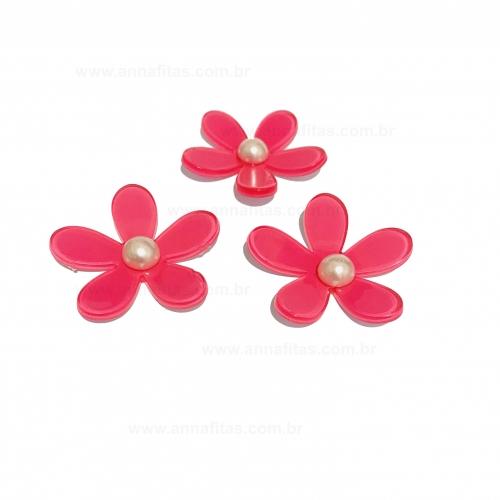 Aplique Flor Margarida em Acrílico de 4cm Cor - ROSA PINK Por Unidade Ref - FLM4RP