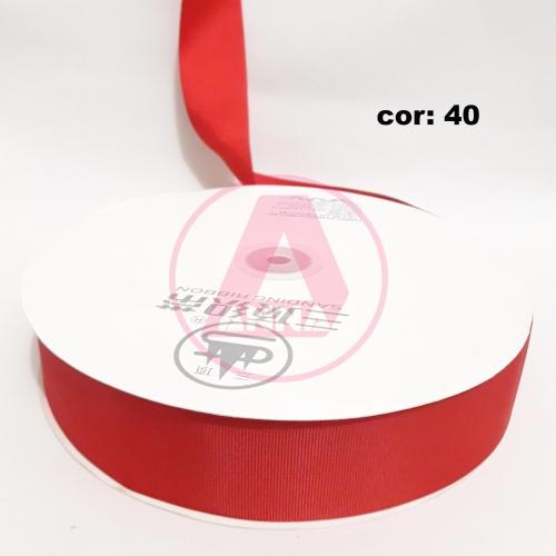 Fita Gorgurão Sanding 38 Milimetro com 10 metros de Comprimento Cor-40 Vermelha