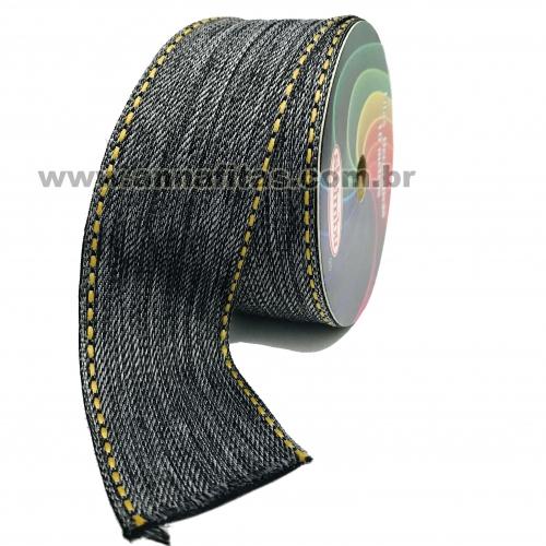 Fita Jeans Pespontada Sinimbu de 38mm Com 10 Metros Ref:1785-38 Cor- 02 Jeans Preto