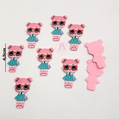 LOL em Acrílico ROSA com Óculos, para apliques em tiaras e laços Por unidade, altura 4,5 cm Ref: 11