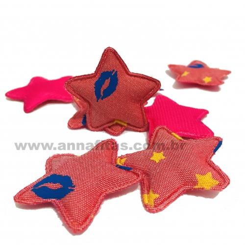 Aplique Estrela Fofinha JEANS ROSA  5x5cm Por Unidade Ref:40