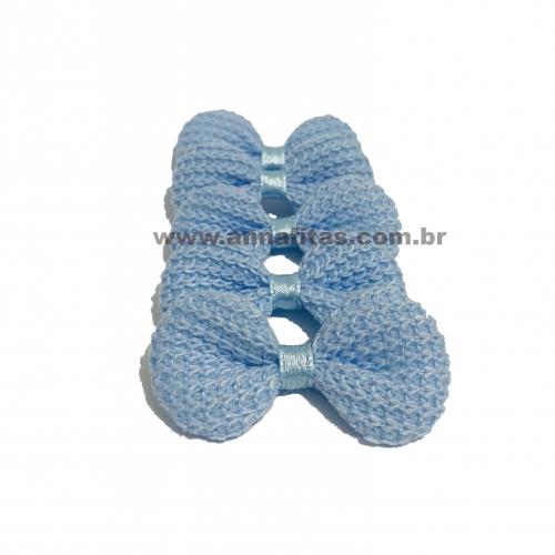 Laço de Crochê Melaço 3,0 x 5,5cm Pacotinho com 5 Unidades Cor - 12 Azul Bebê