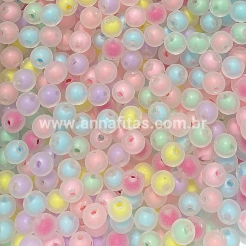Bolas Translucidas Furo Passante com cor no Centro de 8mm, pacote com 50 gramas, Cor- CANDY COLOR Ref- BTR104