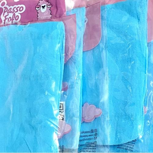 Pacote com 5 Unidade Meia de Seda Passo Fofo Azul Celeste Cor-48