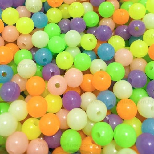 Bolas Plásticas Brilha no Escuro de 8mm Coloridas com 50 gramas Ref: BLEI8CF