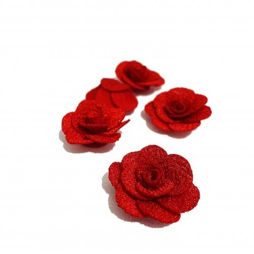 Flor de Tecido VERMELHO com 5 unidades  de 3cm  Ref- MFG26