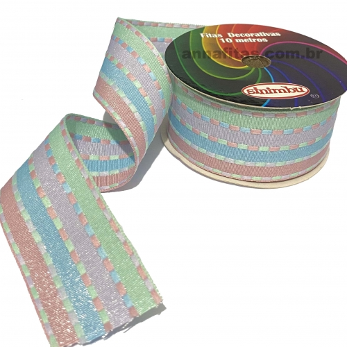 Fita Decorativa Pespontada com BRILHO 38mm Com 10 Metros Colorido COR BABY Ref - 1795/C02