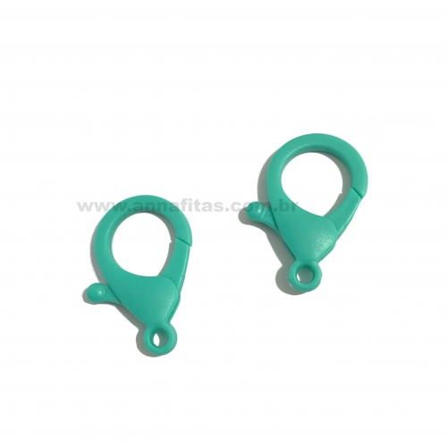 Fecho Lagosta em Plastico para Pulseira com 2 unidades  de 35mm VERDE ÁGUA Ref: FECH1VD