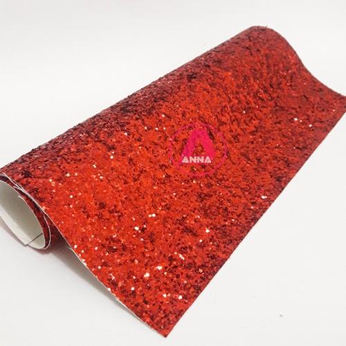 Lonita Vermelha Brilhosa Flocada 24 por 40 cm Ref:17