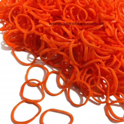 Elásticos para laço Pet cor LARANJA de 1,5cm com 50 gramas Pacote aproximadamente 500 unidades