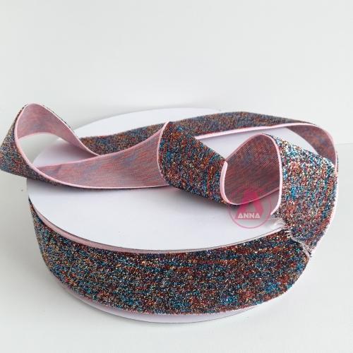 Fita Sintética Veludo com Glitter de 38mm POR 1 METRO (Lurex Esponjada) Cor COLORIDAS  Ref: 19