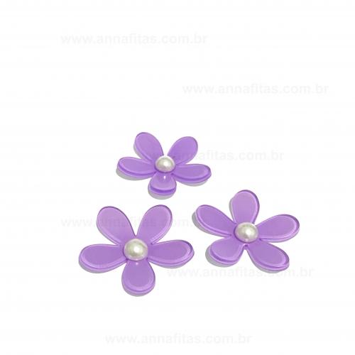 Aplique Flor Margarida em Acrílico de 4cm Cor - LILÁS Por Unidade Ref - FLM4LI