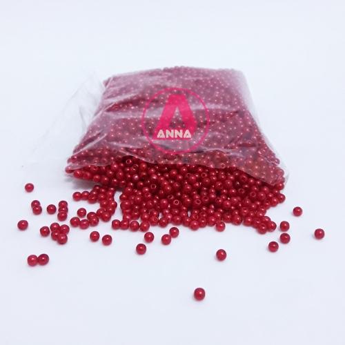Perola ABS Furo Passante 3mm com 50 Gramas Cor Vermelha Ref:201