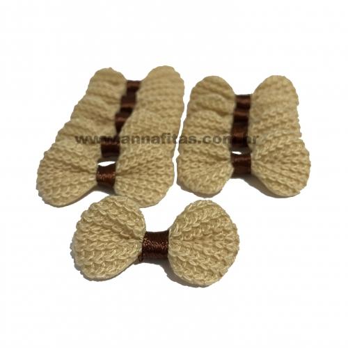 Lacinho de Crochê Melaço 2cm x 4,5cm BEGE 10 Unidades Cor - 09
