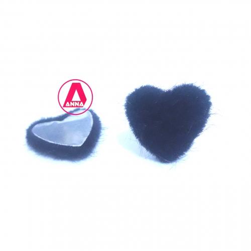 Coração Felpudo com Metal Altura 2,5 e Largura 2,5 Preto Unidade Ref:35