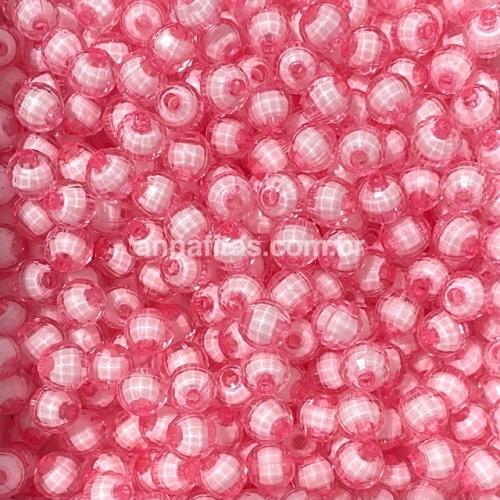 Bolas Furo Passante SEXTAVADA em ACRÍLICO tamanho 8mm Pacotinho com 50g ROSA CLARO REF- BLAH4