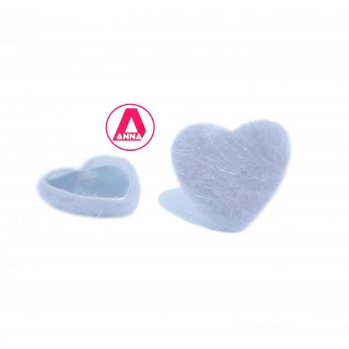 Coração Felpudo com Metal Altura 2,5 e Largura 2,5 Cinza Unidade Ref:34