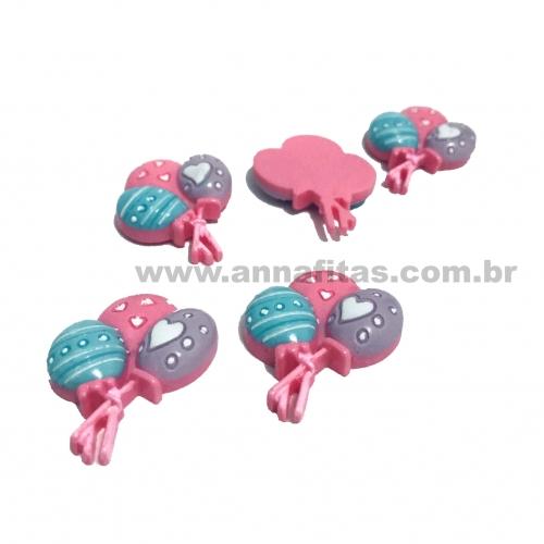 Aplique em Plástico BALÕES ROSA LILAS E AZUL 30x27mm Ref-3000