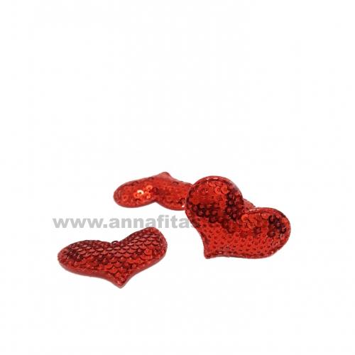 Aplique Coração Fofo com PAETÊ , Altura 3cm, Largura 4cm a unidade Cor- Vermelho