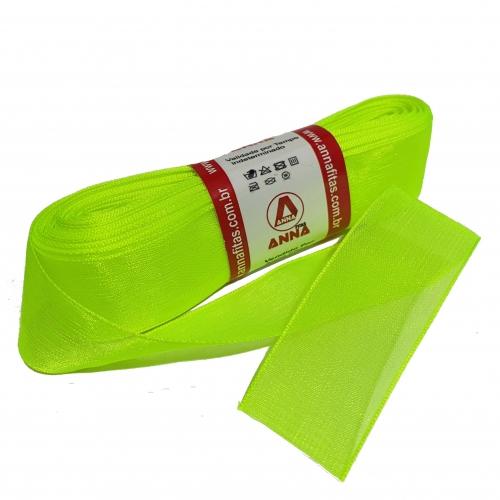 Fita de Organza Sanding 22mm N5 com 10 metros Cor-58 Verde Neon