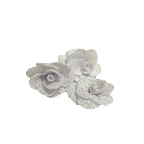 Flor de Tecido BRANCA com 5 unidades de 3cm  Ref- MFG01