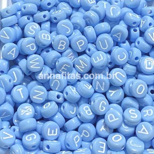 Redondo Entremeio Azul Bebê com Letras Branca de 7mm Pacote de 50 gramas Ref: RDO116