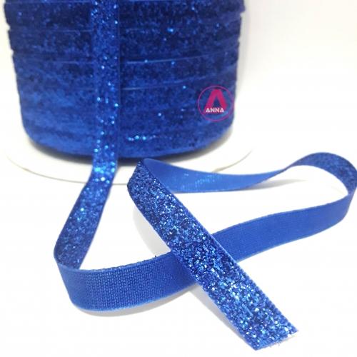 Fita de Veludo com Glitter de 10mm com 10 Metros (Lurex Esponjada) Cor Azul Royal Ref: 01