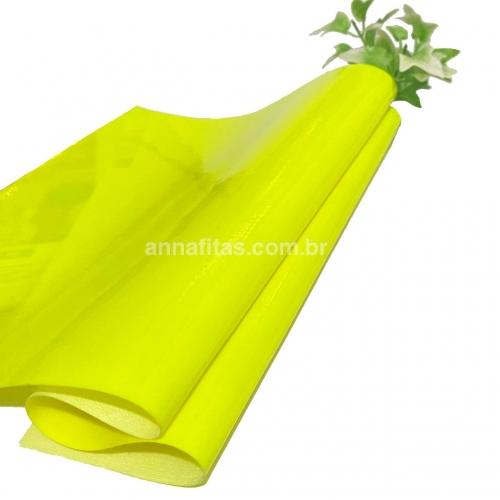 Lonita couro ecológico Verniz cor AMARELO NEON 24 por 40 cm Cor: 54
