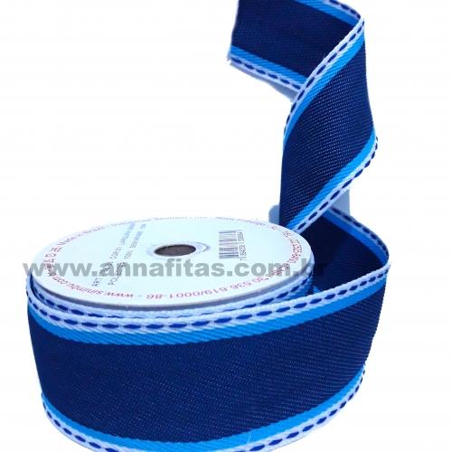 Fita Jeans Com Azul Pespontada Sinimbu de 38mm Com 10 Metros Cor- 01 Ref:1786-38