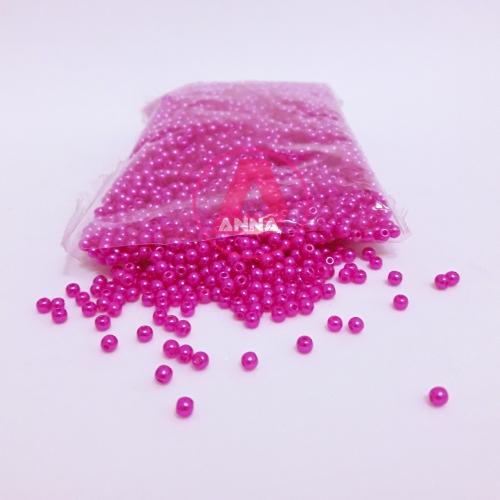 Perola ABS Furo Passante 3mm com 50 Gramas Cor Rosa Pink Ref:230