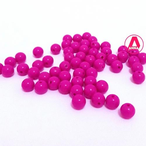 Bolas Leitosas Furo Passante Tam- 8mm Pacote com 50gramas Pink Cor -011
