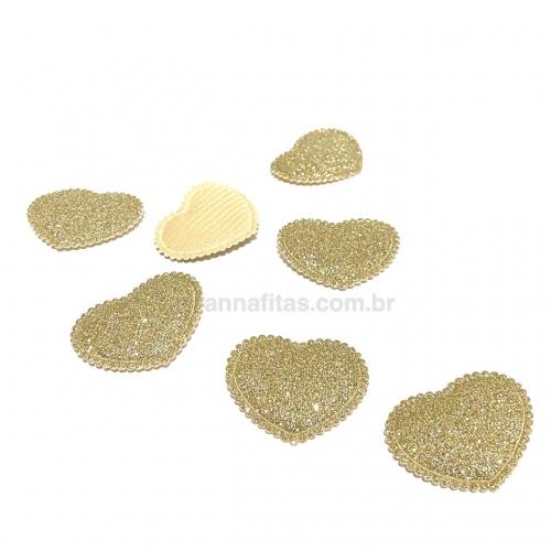 Aplique Coração Fofinho com Glitter 2,5X3cm (Vendido por unidade) Cor- DOURADO Ref: CGLIDO