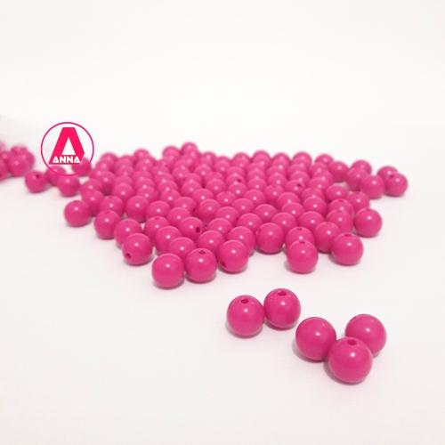 Bolas Leitosas Furo Passante de 8mm, pacote com 50 gramas, Cor: Rosa Pink Ref: 006