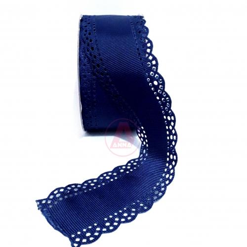 Fita de Gorgorão N9 de 40mm com 10 metros  LATERAL VAZADA Ref:38 Azul Marinho