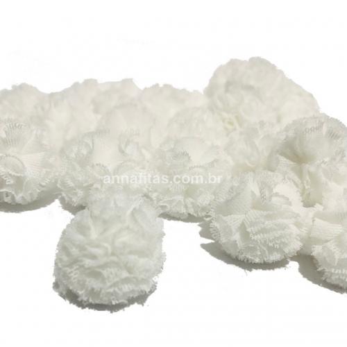 Pompom de Poliéster 2,5cm com 25 Unidades Branco Ref: 01