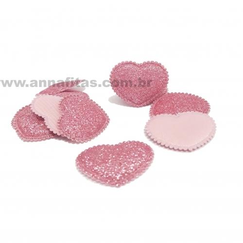 Aplique Coração Fofinho com Glitter 2,5X3cm (Vendido por unidade) Cor- Rosa Bebê Ref: CGLIRS