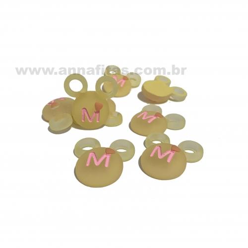Aplique em Resina MINNIE Amarelo  2,8x2,8cm Ref: TMIN61