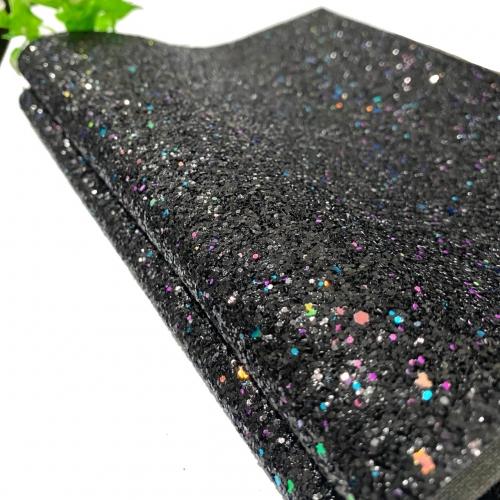 Lonita glitter Flocado PRETO COM BRILHO FURTA COR 24 por 40 cm Ref 50