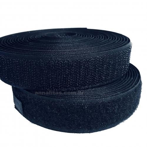Fita Fecho de Contato para costura 25mm com 5 Metros Macho e 5 Metros Fêmea cor PRETO Tipo Velcro