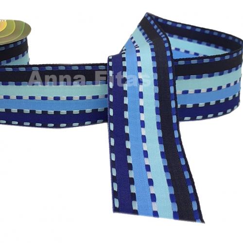 Fita Decorativa Pespontada de 38mm Com 10 Metros Colorido AZUL CLARO E AZUL ESCURO Cor - 08