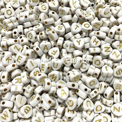 Entremeio Coração BRANCO Letras Douradas 7mm Pacote de 50 gramas Ref: ENT57